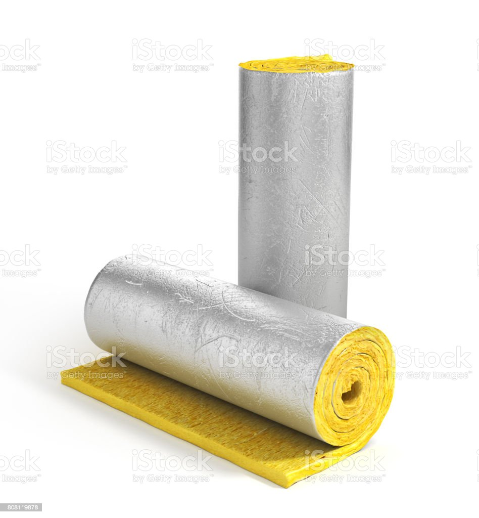 Roll of insulation wool for construction. Heating materials. 3d illustration stock photo