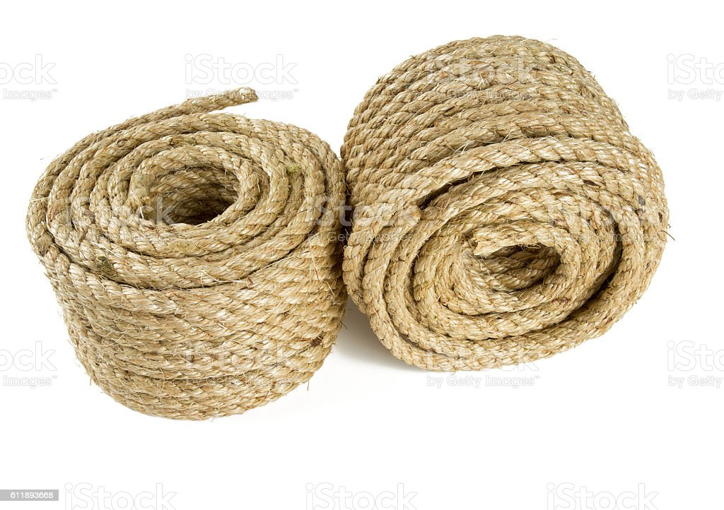 Roll Of Jute Rope Isolated On White Background Stock Photo