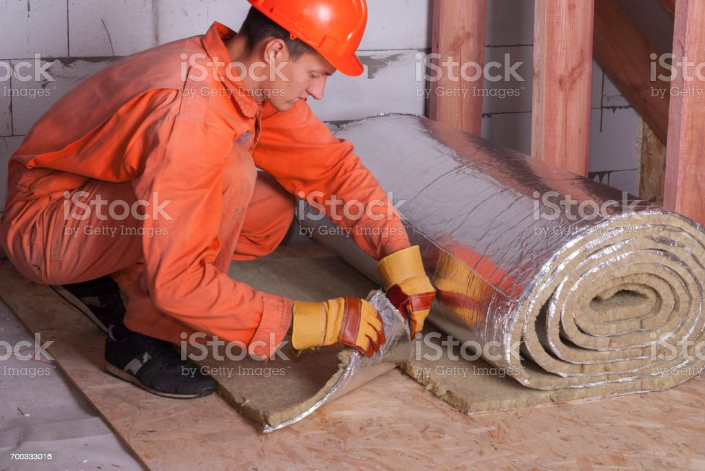 roll of mineral wool stock photo