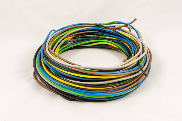 Roll of multicolored electric cables - foto stock