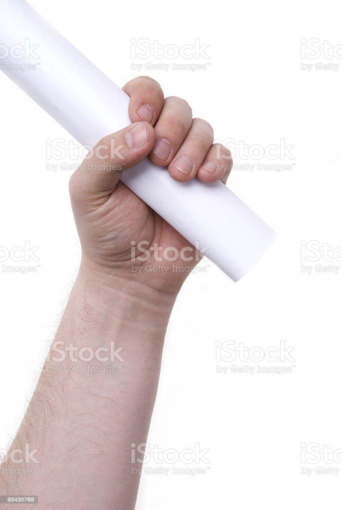 roll von Papier in der hand Lizenzfreies stock-foto