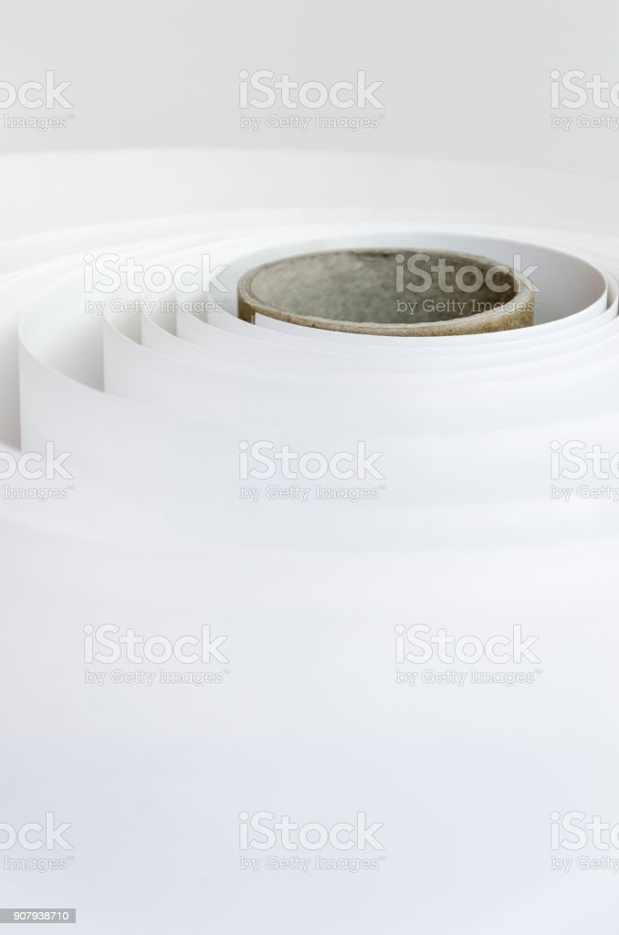 roll of paper in newspaper factory. modern printing press. Printing house. stock photo