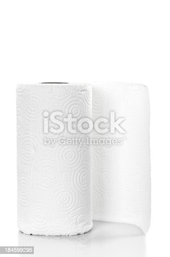 Roll of paper towel isolated on white