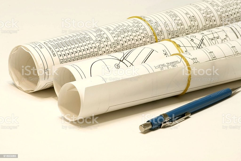 Roll of Plans and Design stock photo
