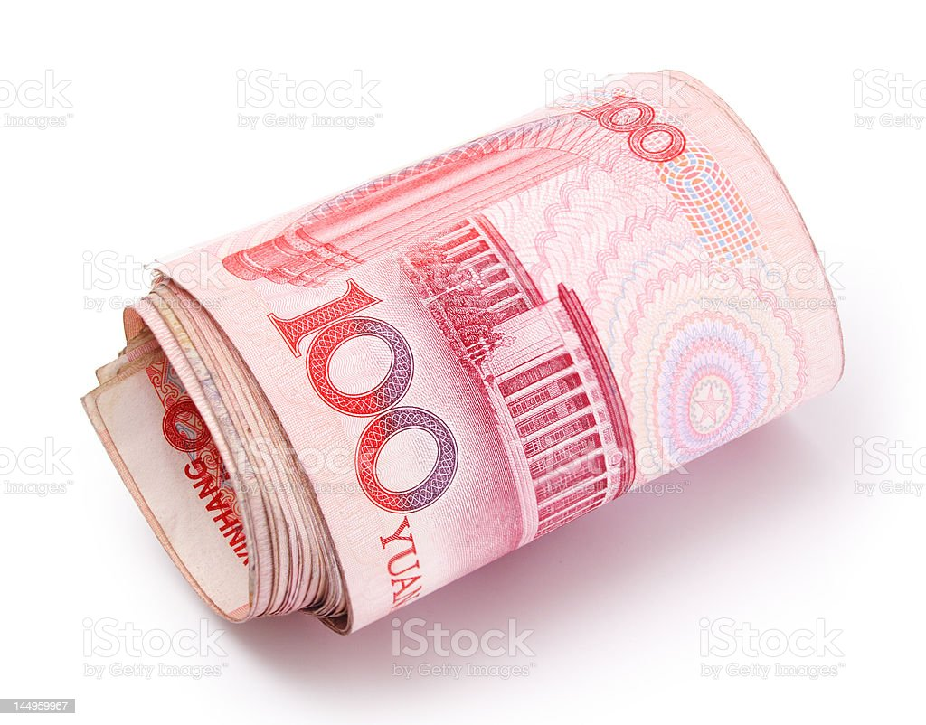 Roll of Renminbi royalty-free stock photo