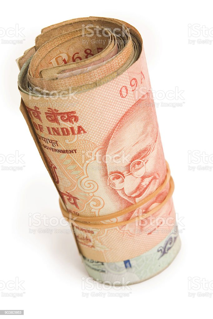 Roll of rupees royalty-free stock photo