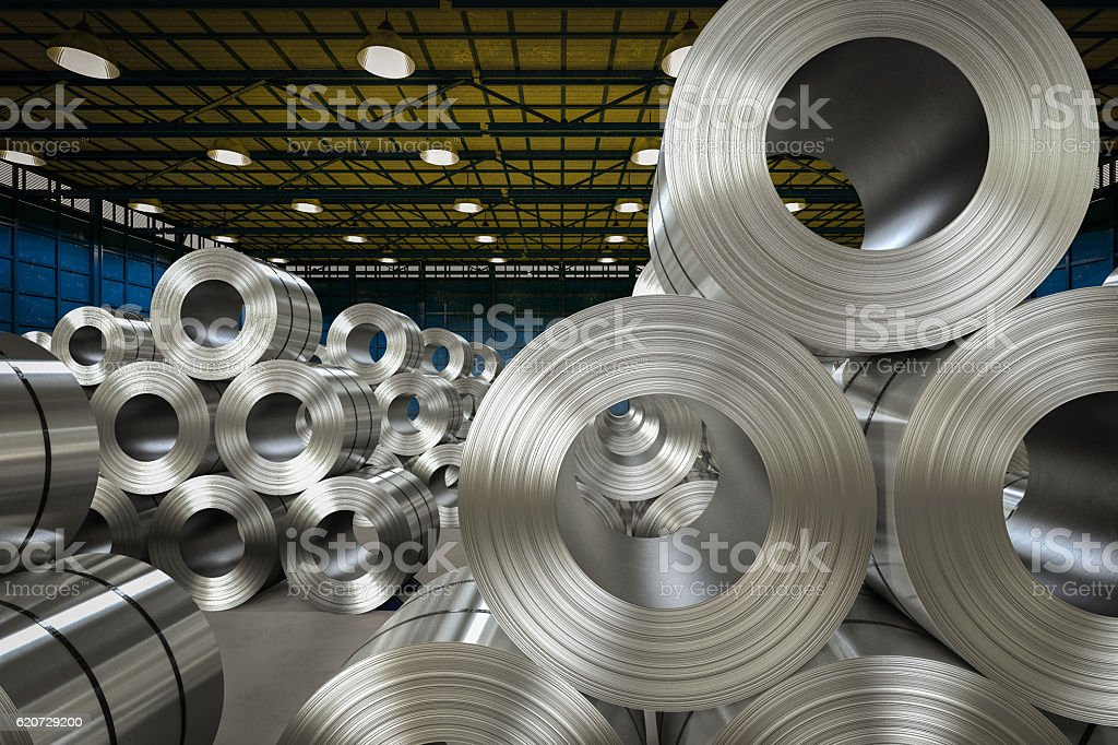 roll of steel sheet in factory - foto de acervo