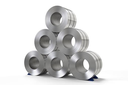 istock roll of steel sheet in factory 620729478