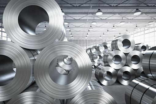 3d rendering roll of steel sheet in factory