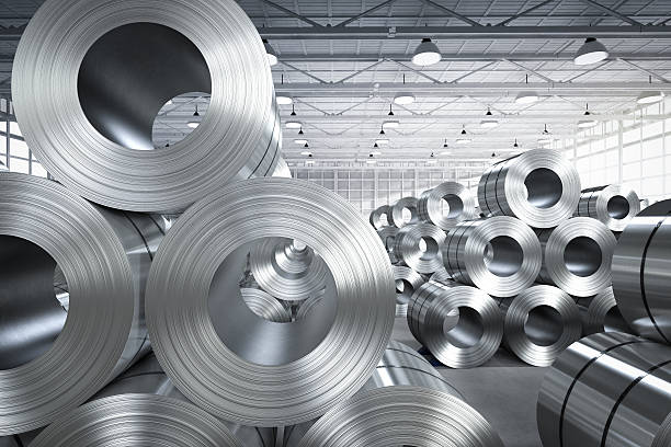 roll of steel sheet in factory - steel stock photos and pictures
