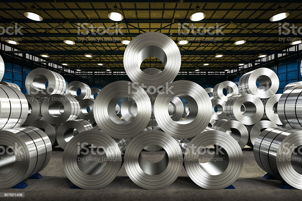 roll of steel sheet in factory - Photo
