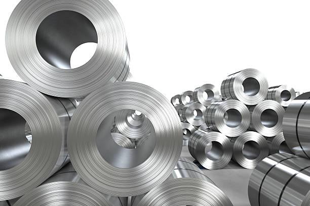 roll of steel sheet in factory - foto de stock