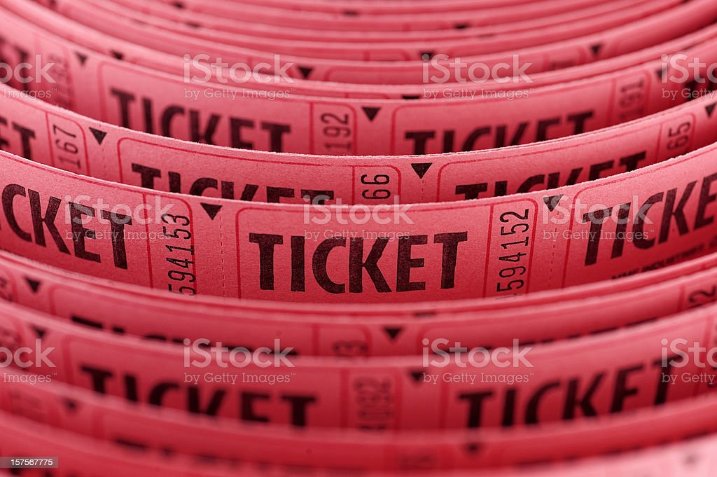Roll of Tickets closeup stock photo