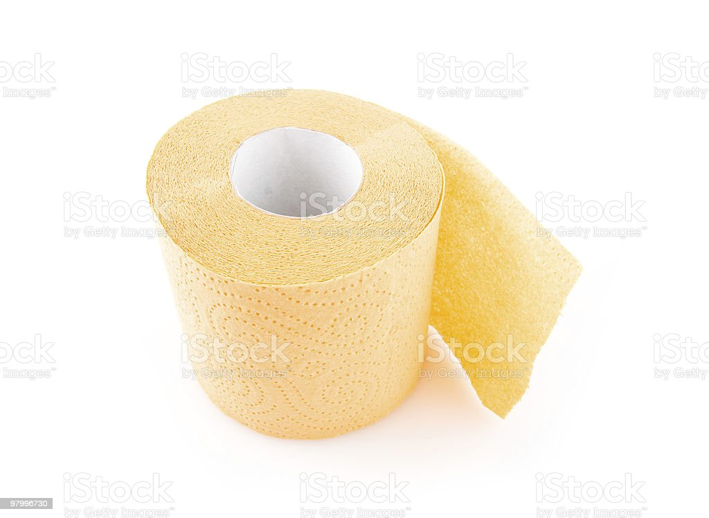 roll of toilet paper on a white background royalty-free stock photo