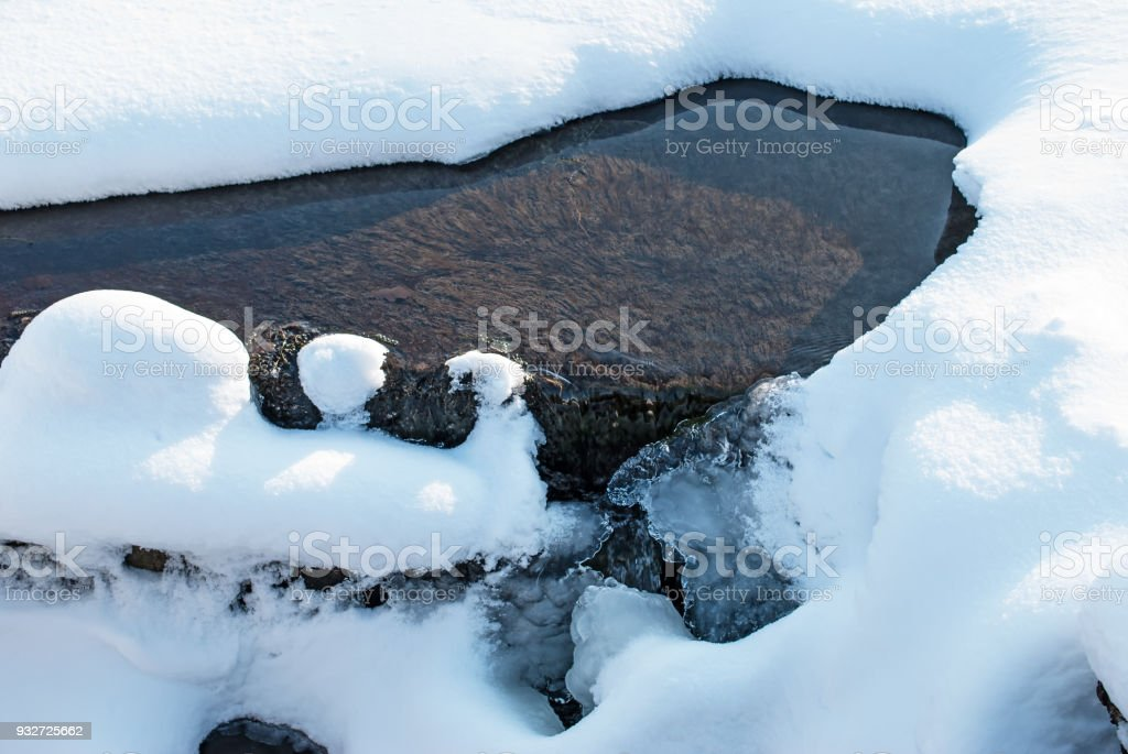 roll on the river close up. Non-freezing river in winter stock photo