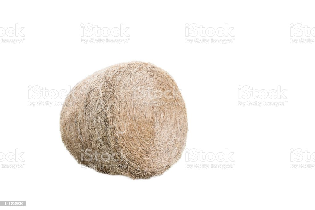 roll straw ,isolated on white background with clipping path. stock photo