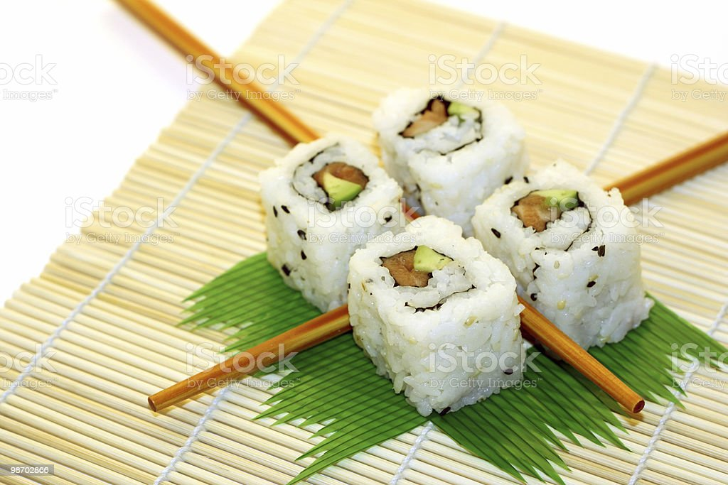 Roll Sushi structured over white royalty-free stock photo