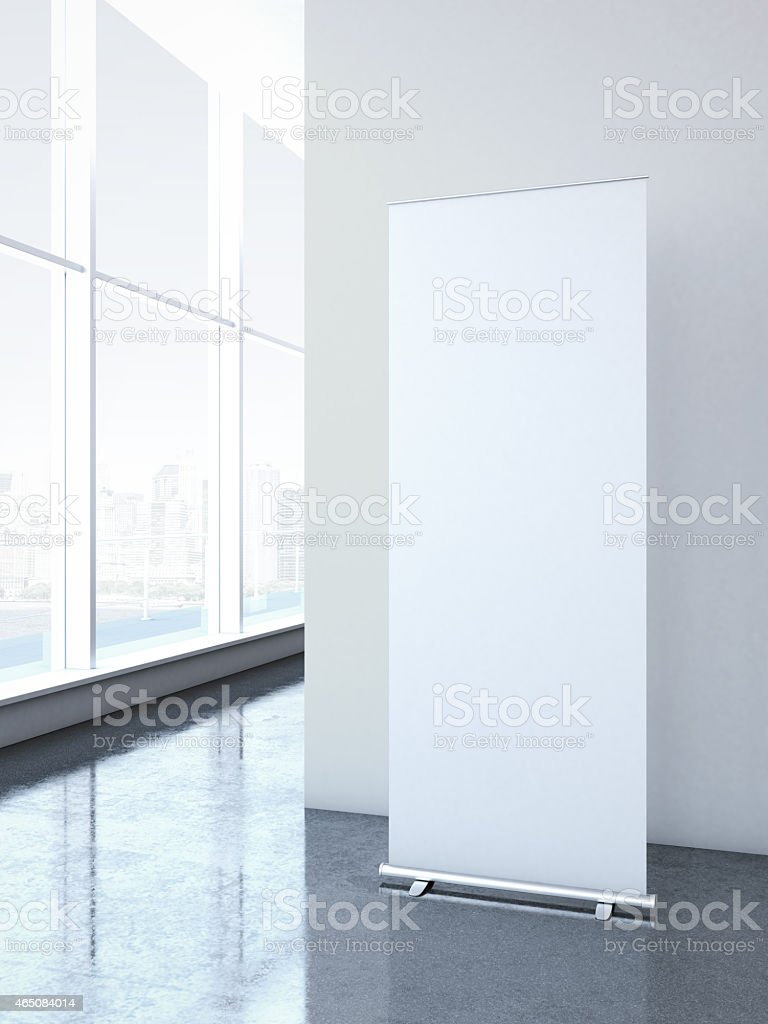 Roll up banner at office stock photo