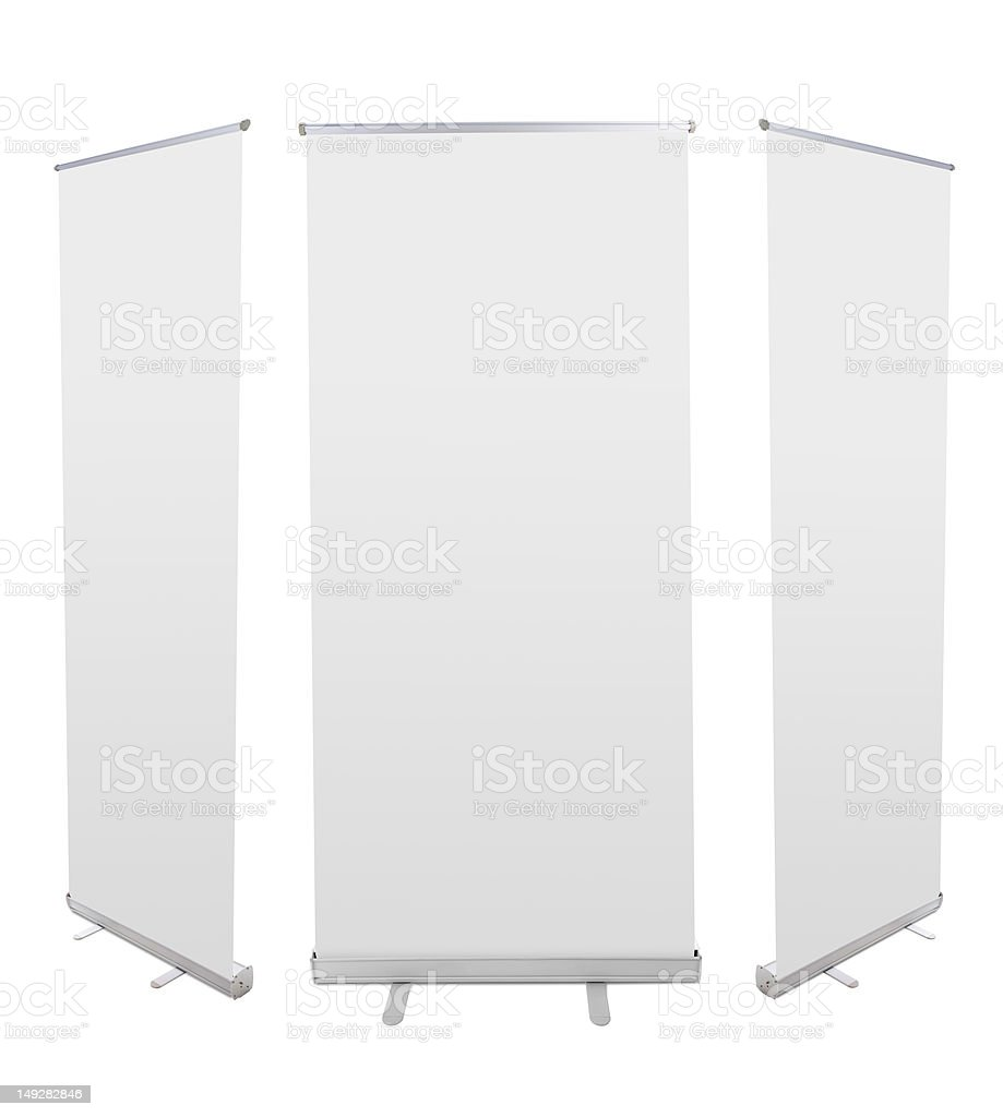 Roll up banner displays against white backdrop royalty-free stock photo