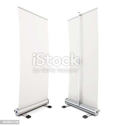 istock Roll up banner isolated on white background. 3d. 505984248