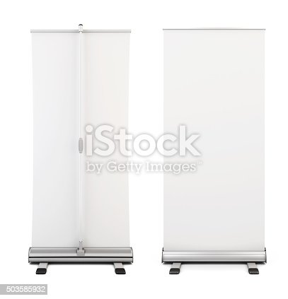 istock Roll up banner isolated on white background. 503585932