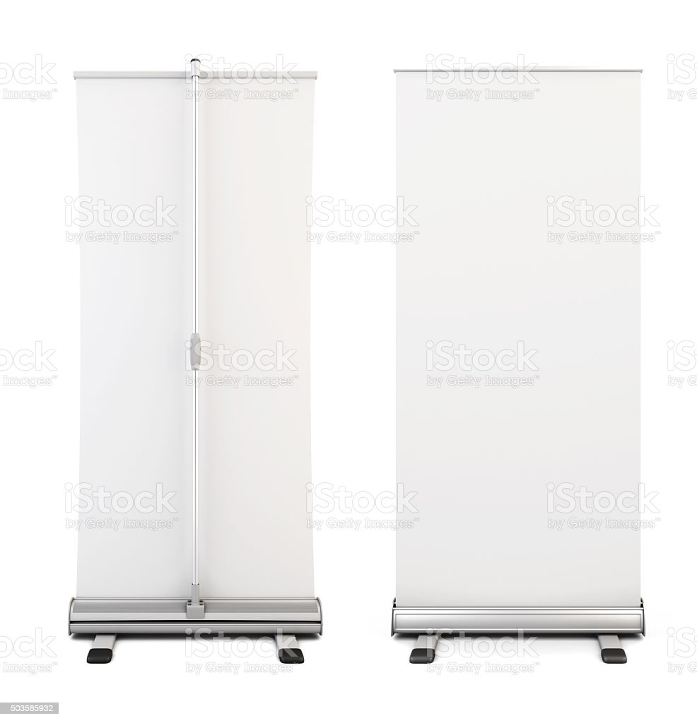 Roll up banner isolated on white background. stock photo