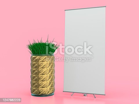 Roll up banner stand. Mockup on pink background. 3D rendering.