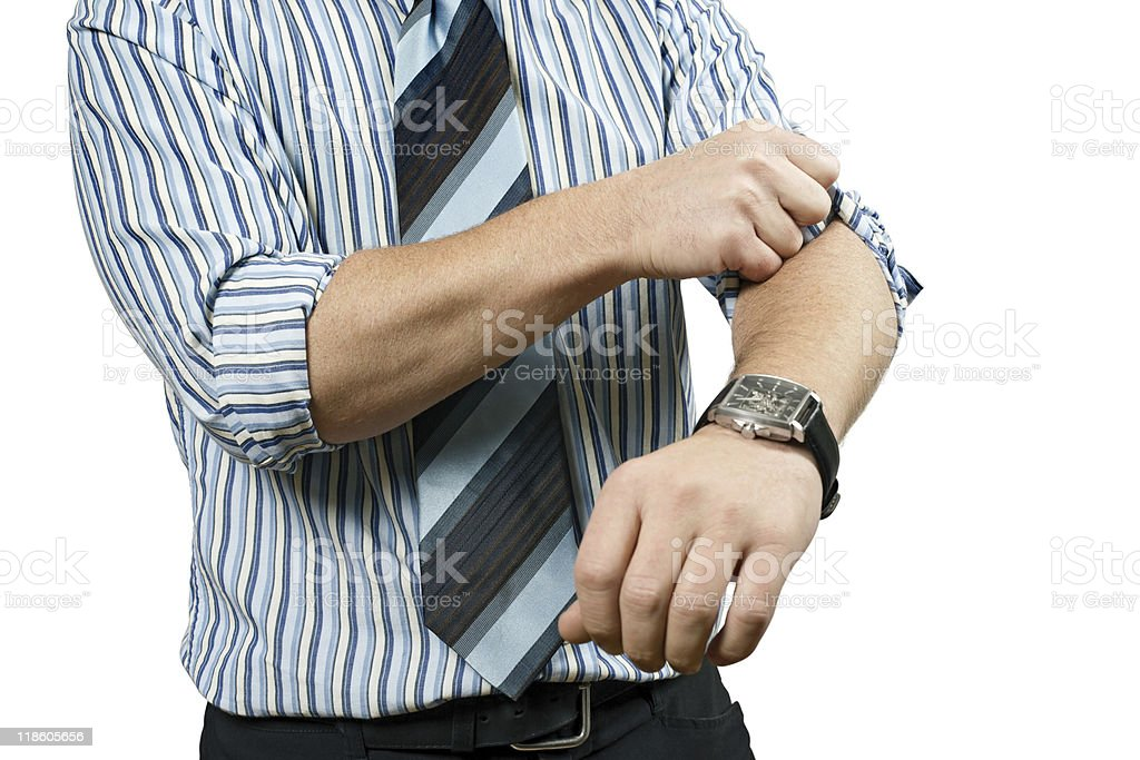 Roll up his sleeves stock photo