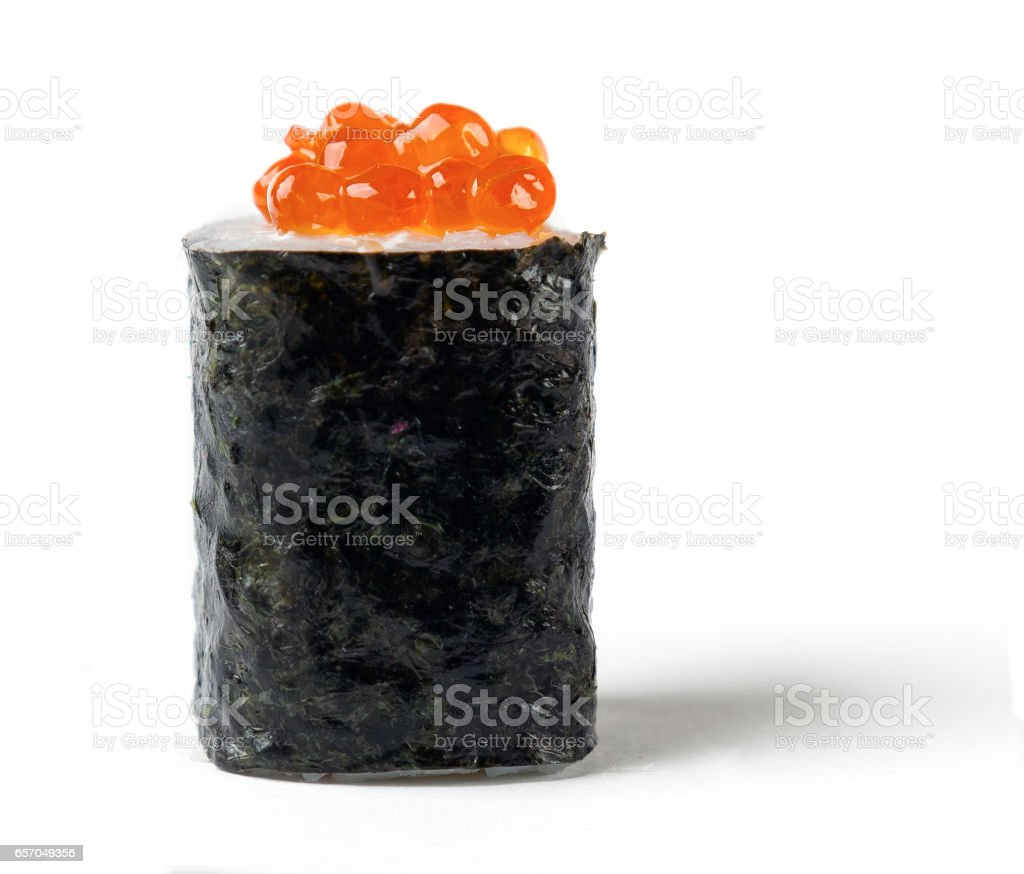 Roll with a salmon caviar stock photo
