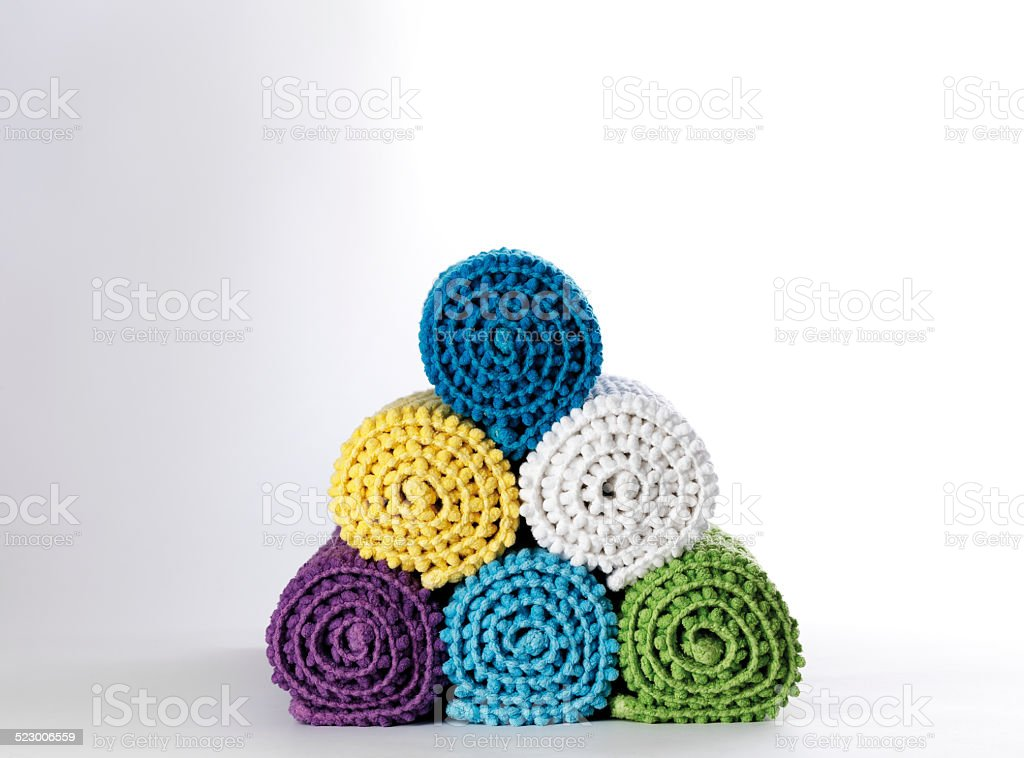 Rolled Bath Mats stock photo