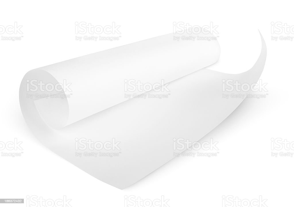 Rolled blank sheet of paper stock photo