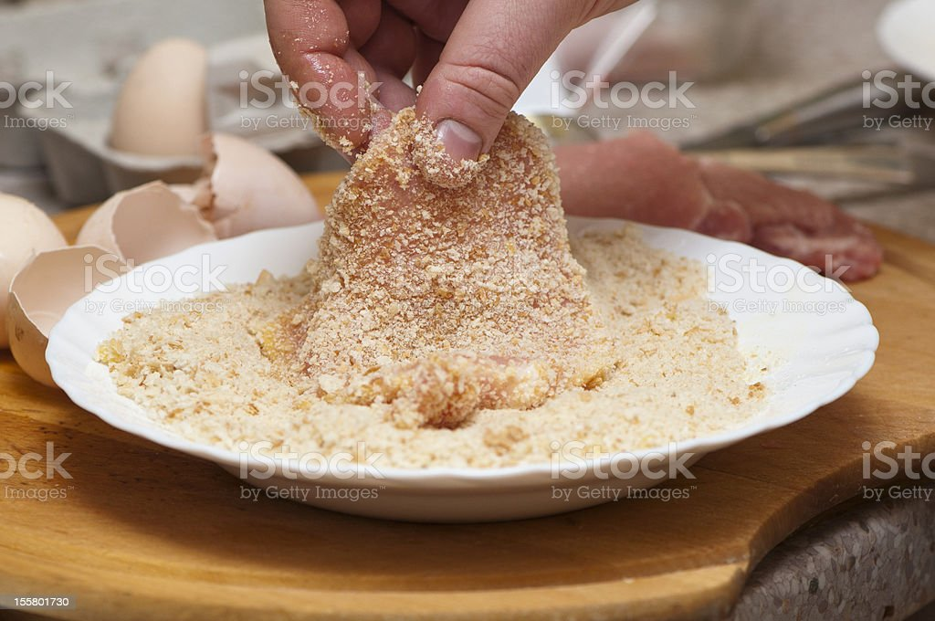 rolled chops in breadcrumbs stock photo
