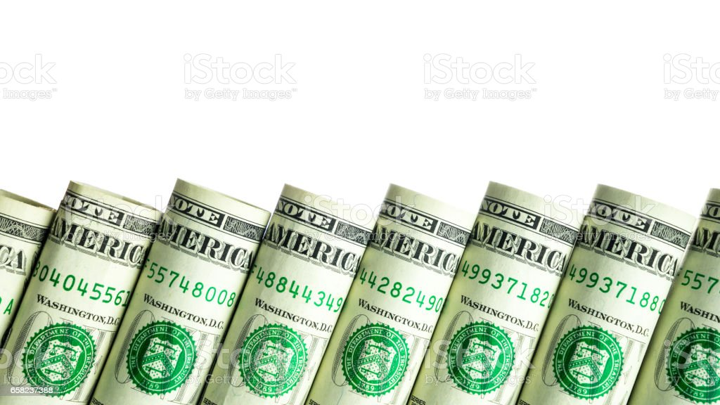 Rolled dollar banknote with white background stock photo