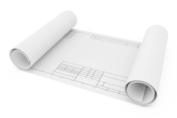 Rolled Drawing Template Paper. 3d Rendering stock photo