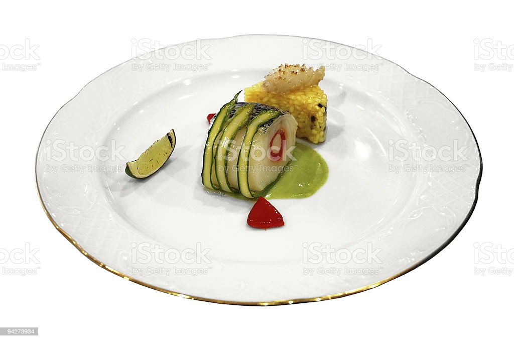 Rolled fish with vegetables royalty-free stock photo