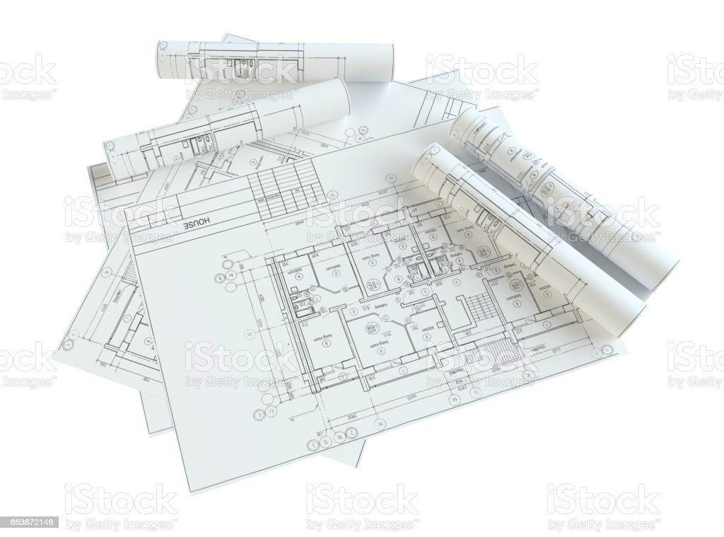Rolled House Blueprints. Isolated stock photo
