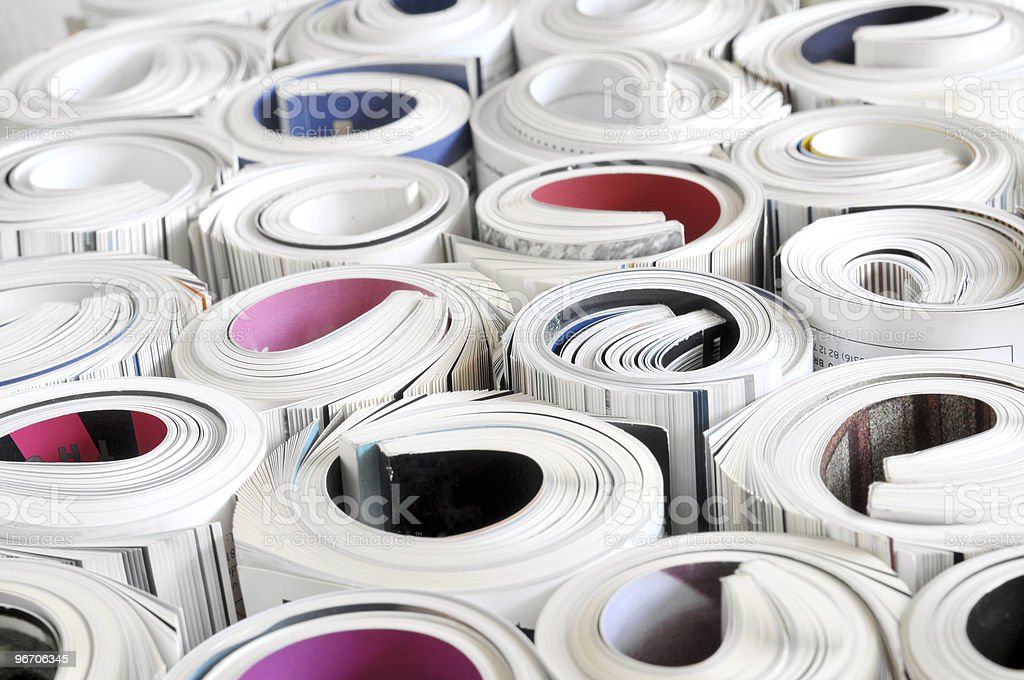 Rolled magazines royalty-free stock photo