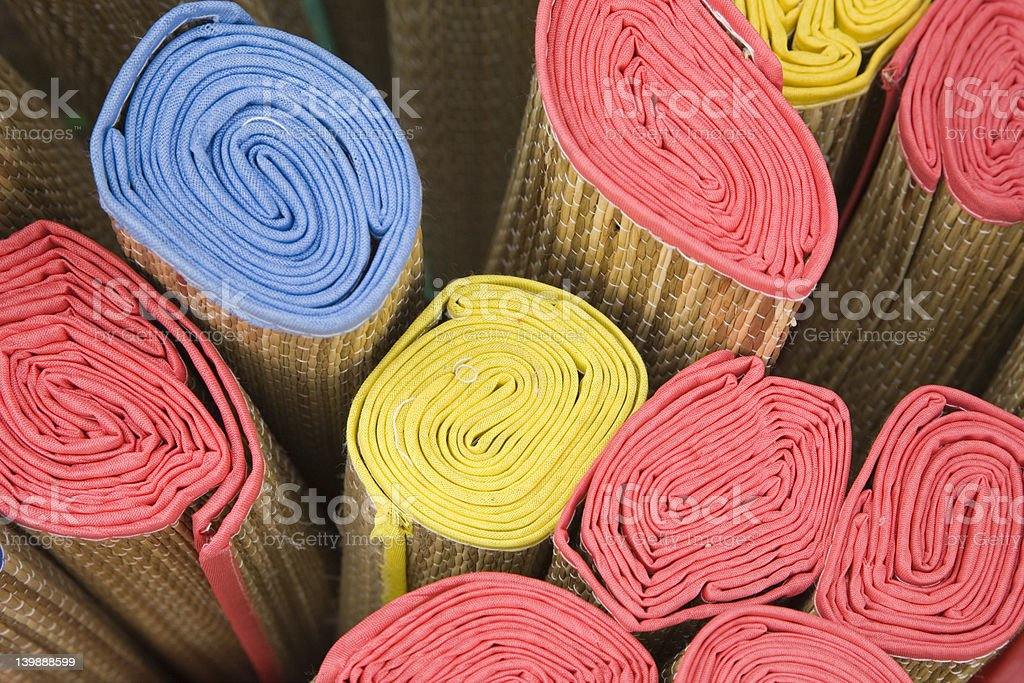 Rolled mats stock photo