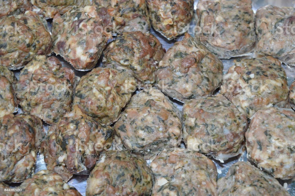 Rolled meat balls stock photo