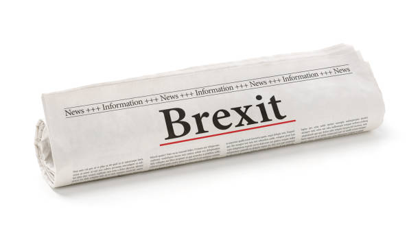 Rolled newspaper with the headline Brexit Rolled newspaper with the headline Brexit foreign affairs stock pictures, royalty-free photos & images