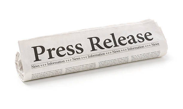 Rolled newspaper with the headline Press Release Rolled newspaper with the headline Press Release front page stock pictures, royalty-free photos & images