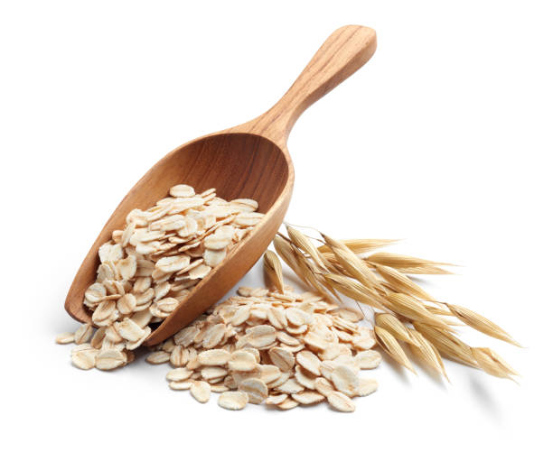 rolled oat scoop and pile of oatmeal with its plant oat crop stock pictures, royalty-free photos & images