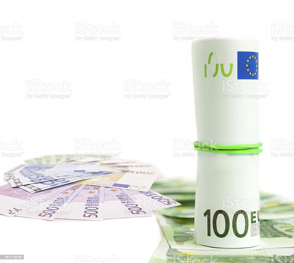 rolled pack of 100 euros royalty-free stock photo