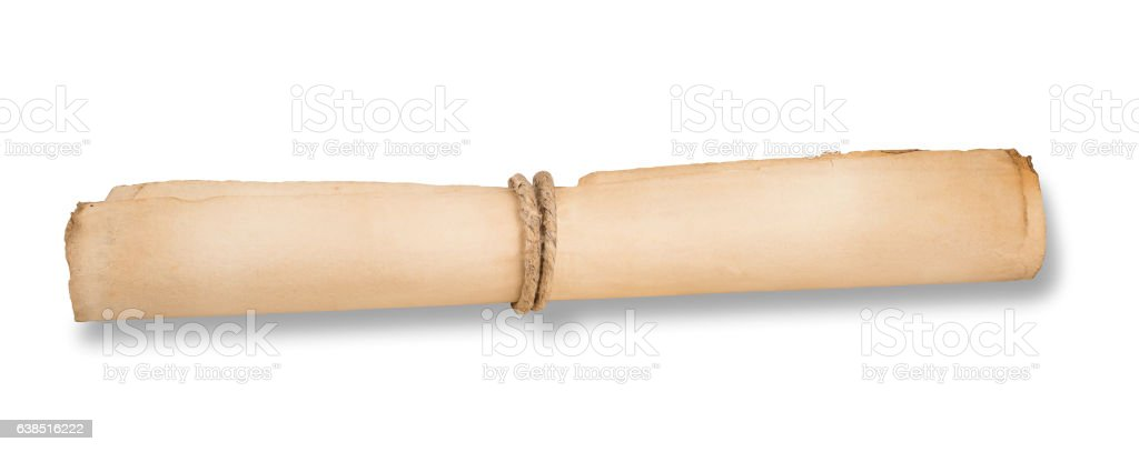 Rolled parchmen isolated stock photo