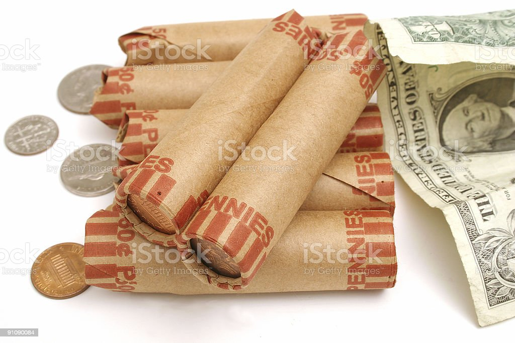 rolled pennies & $1 bill royalty-free stock photo