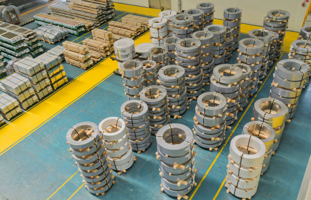 Rolled steel, plate in factory warehouse stock photo