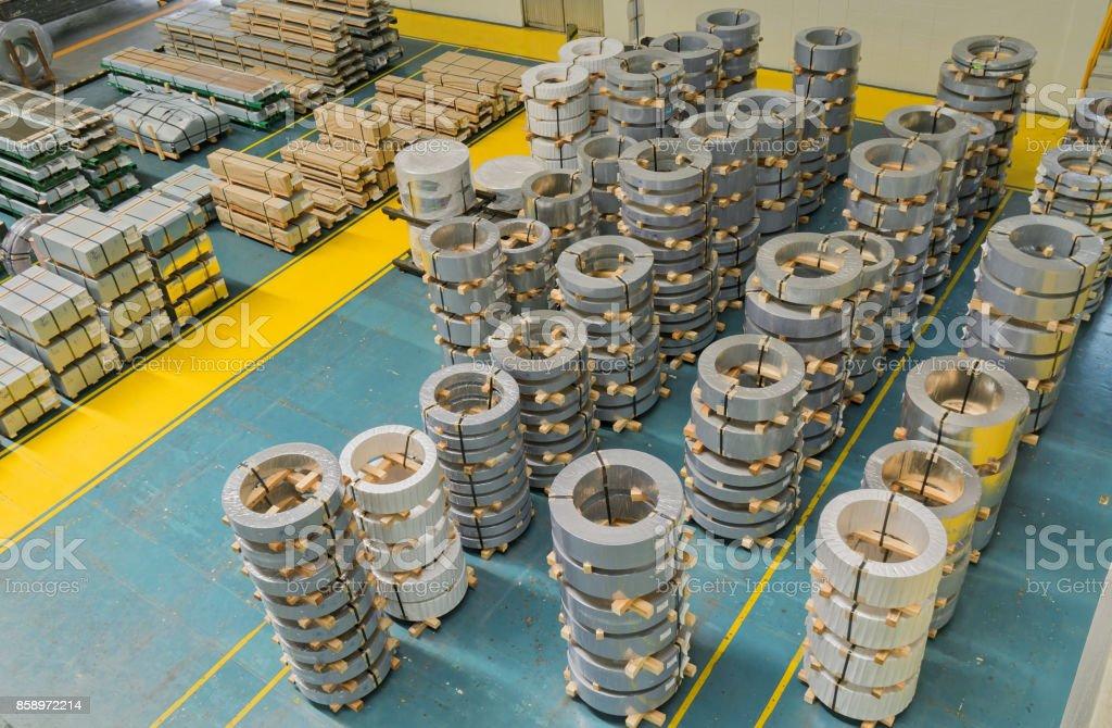 Rolled steel, warehouse storage stock photo