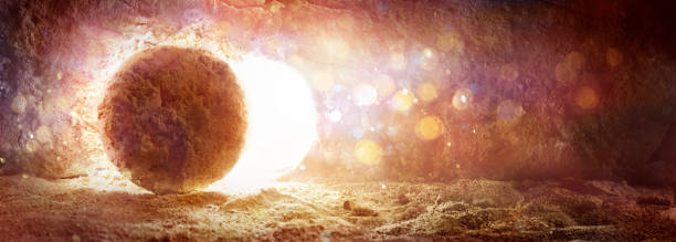 Rolled Stone With Lights - Resurrection Of Jesus stock photo
