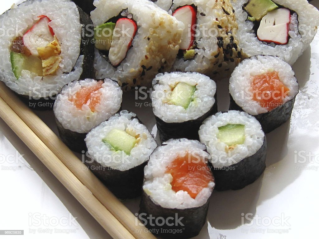 Rolled Sushi on a Plate royalty-free stock photo