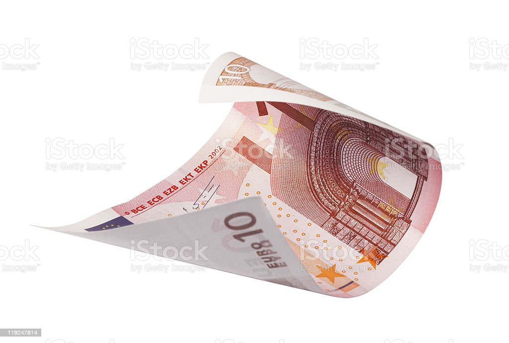 Rolled ten euro bank note on white background stock photo
